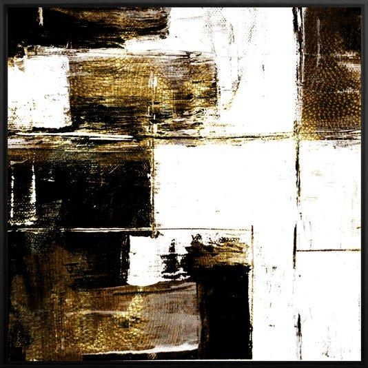Quadro Grande Abstrato Arte Moderna com Moldura Preta 120x120 cm