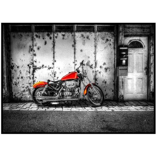 Quadro Grande com Moldura Preta Moto Laranja Estacionada 140x100cm