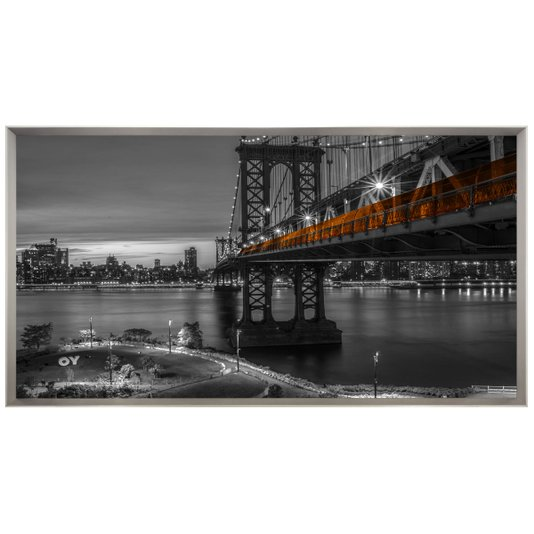 Quadro Grande Paisagem Ponte de Manhattan em Preto e Branco 195x105 cm