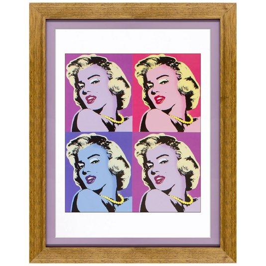 Quadro Marilyn Monroe com Moldura Rústica e Lilás 35x45cm