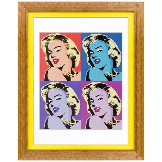 Quadro Marilyn Monroe Moldura Rústica e Amarela 35x45cm