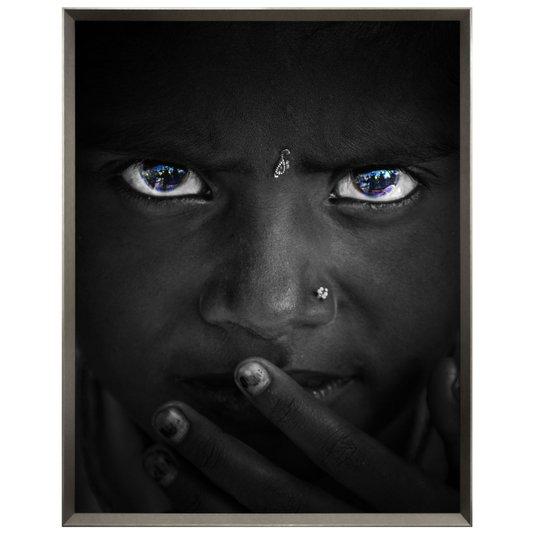 Quadro Menina Africana Retrato em Preto e Branco 115x145cm
