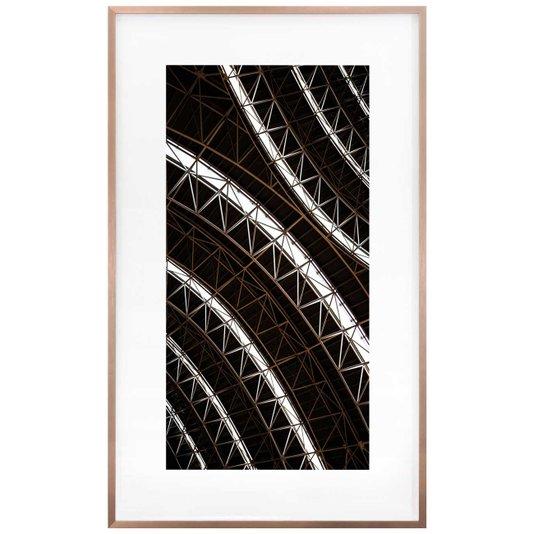 Quadro Moderno Arquitetura na Cor Branca e Marrom 60x100 cm