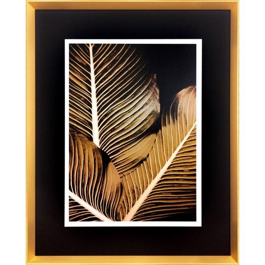 Quadro Moderno Dourado Arte Floral Folhas Amarelas 80x100 cm