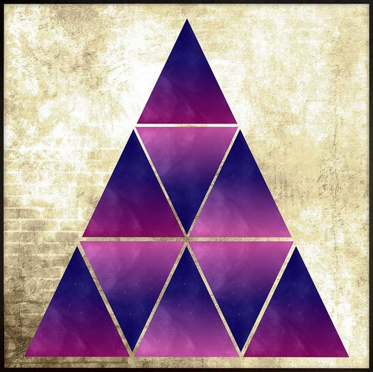 Quadro Moderno Geométrico Arte Triângulos 70x70 cm