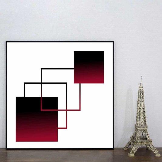 Quadro Moderno Geométrico Arte Vermelha e Preta 60x60 cm