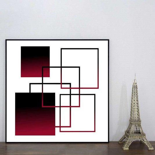 Quadro Moderno Geométrico Arte Vermelha e Preta II 60x60 cm