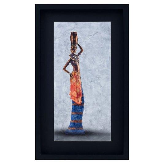 Quadro Mulher Africana Carregando Vaso na Cabeça 35x60cm