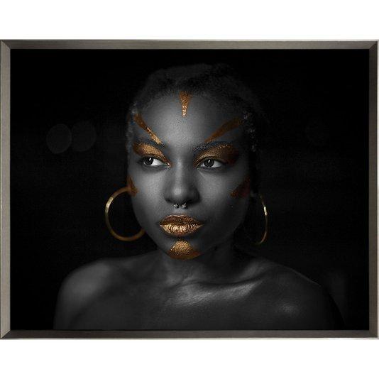 Quadro Mulher Africana Retrato Deusa do Ébano 145x115cm