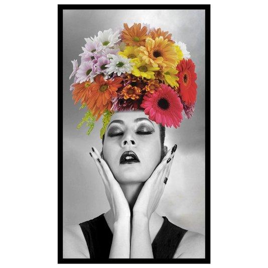 Quadro Mulher com Flores Coloridas Sobre a Cabeça 80x140cm