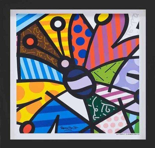 Quadro Obra Butterfly de Romero Britto 35x35cm