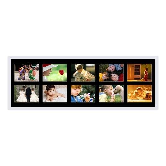 Quadro Painel de Fotos Branco e Preto para 10 Fotos 100x40cm