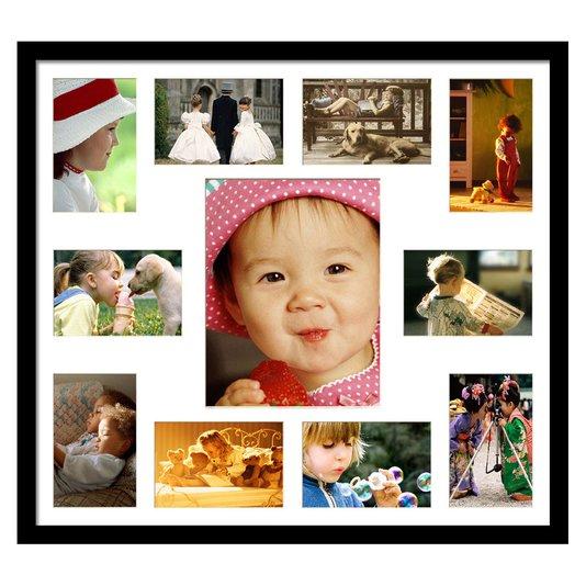 Quadro Painel de Fotos Branco e Preto para 11 Fotos 60x50cm