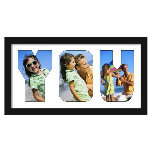 Quadro Painel de Fotos com Capacidade para 3 Fotos c/ Escrita YOU  40x20cm