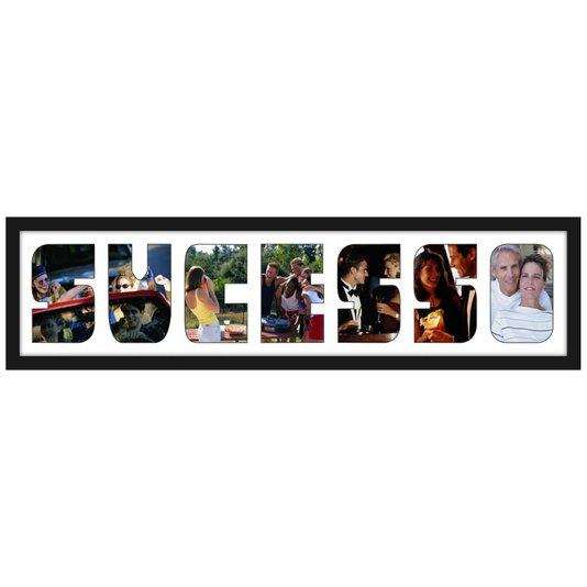 Quadro Painel de Fotos com Capacidade para 7 Fotos c/ Escrita SUCESSO 80x20cm
