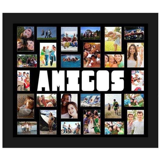 Quadro Painel de Fotos com Escrita Amigos para 26 Fotos 110x90cm