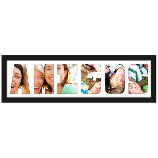 Quadro Painel de Fotos com Escrita AMIGOS para 6 Fotos 70x20cm
