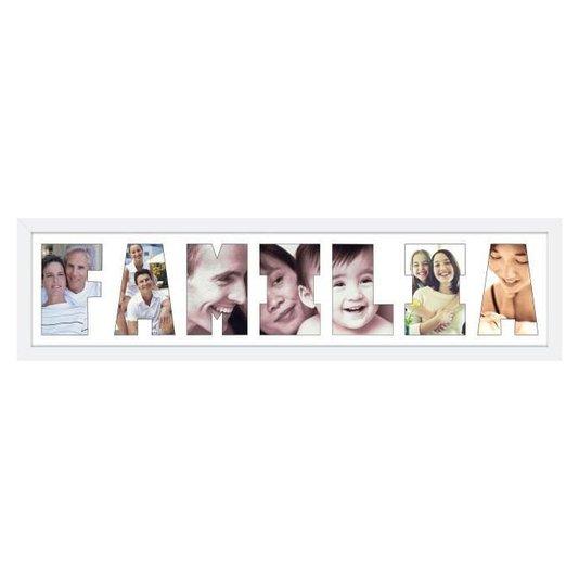 Quadro Painel de Fotos com Escrita FAMÍLIA para 7 Fotos Branco 80x20cm