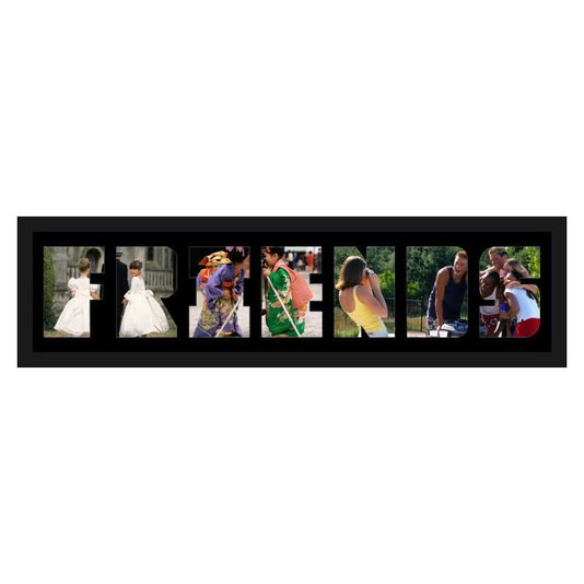 Quadro Painel de Fotos com Escrita FRIENDS para 7 Fotos 80x20cm