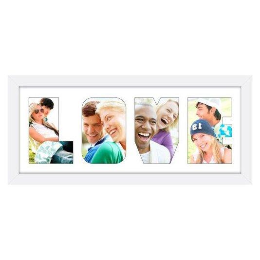 Quadro Painel de Fotos com Escrita LOVE para 4 Fotos Branco 50x20cm