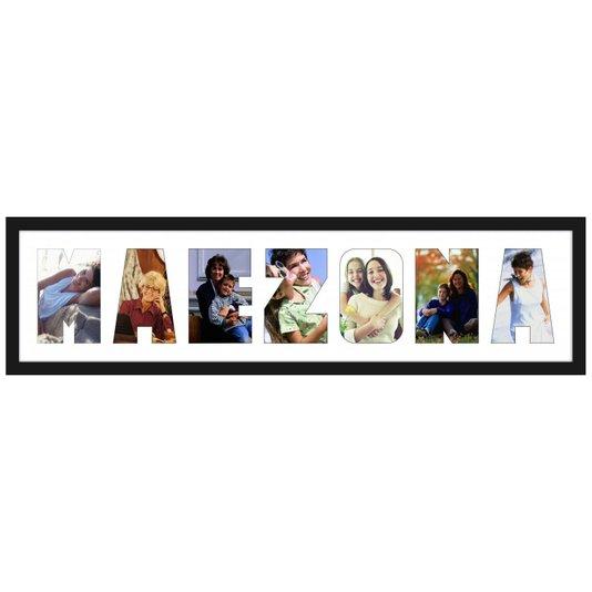 Quadro Painel de Fotos com Escrita MAEZONA para 7 Fotos 80x20cm
