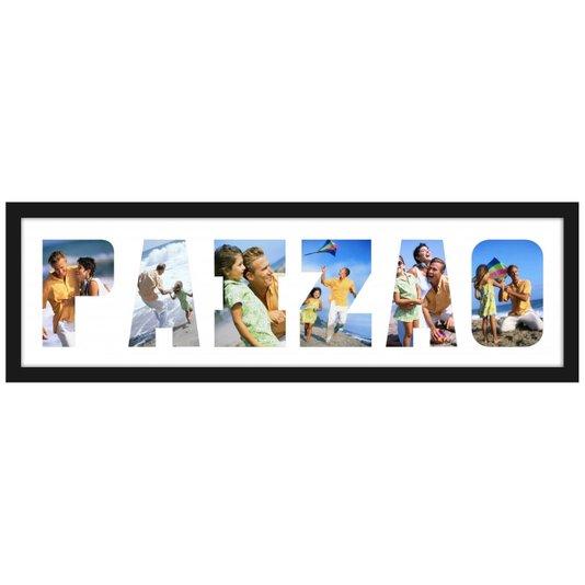 Quadro Painel de Fotos com Escrita Paizão para 6 Fotos 70x20cm