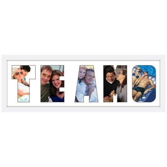 Quadro Painel de Fotos com Escrita TE AMO para 5 Fotos 60x20cm