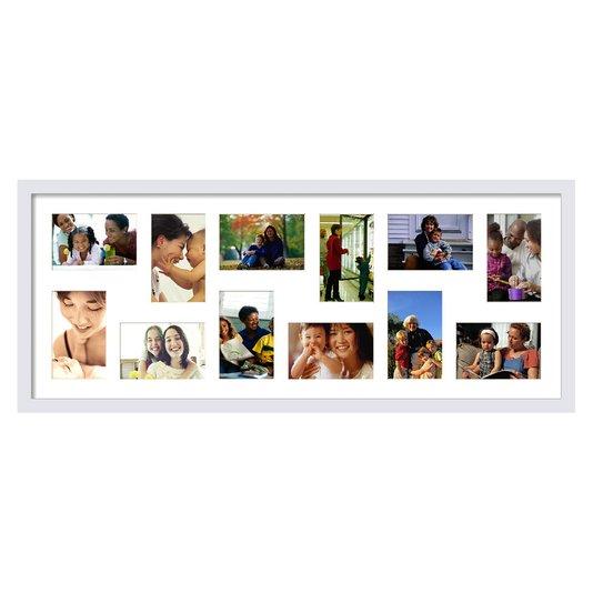 Quadro Painel de Fotos Decorativo para 12 Fotos Branco 90x40cm
