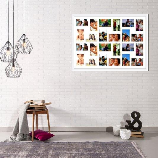 Quadro Painel de Fotos Decorativo para 24 Fotos de 10x15cm Branco 90x60cm