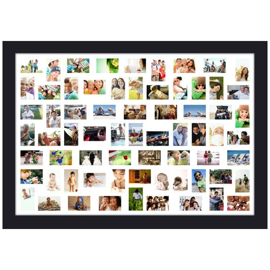 Quadro Painel de Fotos Decorativo para 68 Fotos Branco e Preto 160x110cm