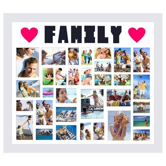 Quadro Painel de Fotos Family Branco para 32 Fotos 130x110cm