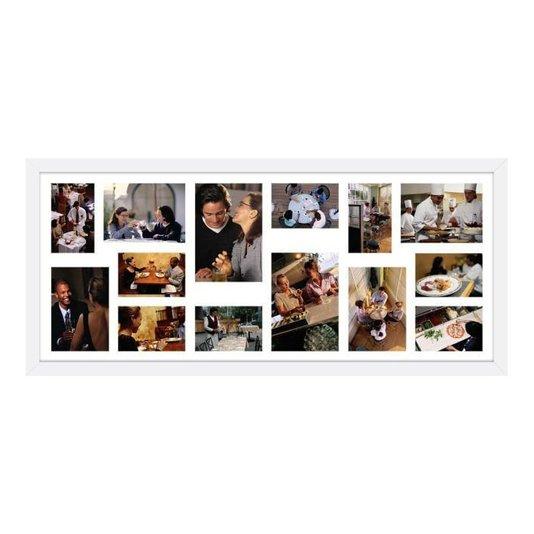 Quadro Painel de Fotos para 14 Fotos Branco 100x40cm