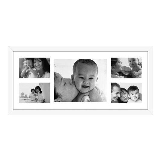 Quadro Painel de Fotos para 5 Fotos Branco 65x30cm