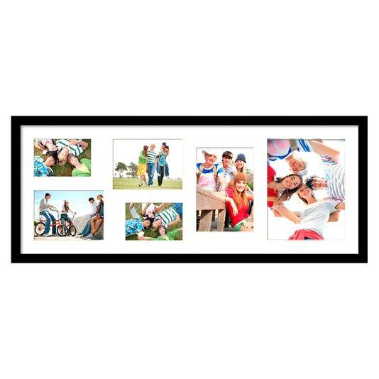 Quadro Painel de Fotos para 6 Fotos Branco c/ Preto 80x30cm