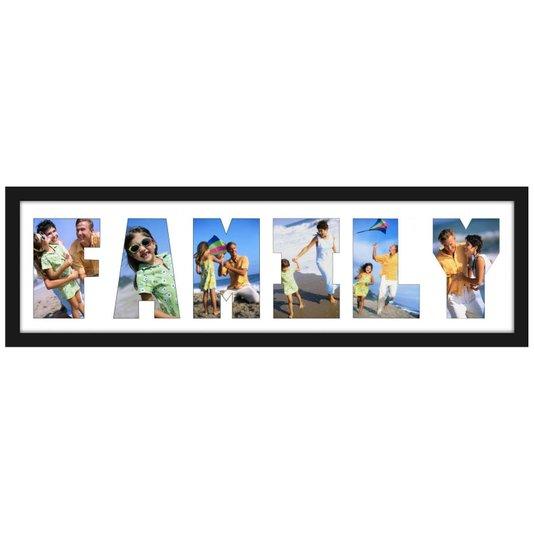 Quadro Painel de Fotos para 6 Fotos com Escrita FAMILY 70x20cm