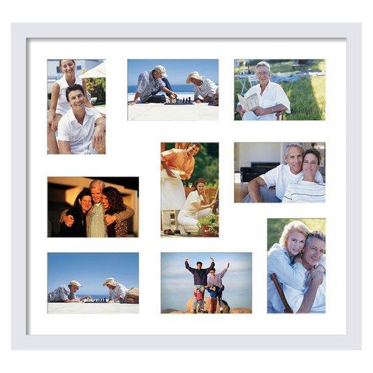 Quadro Painel de Fotos para 9 Fotografias Branco 45x50cm