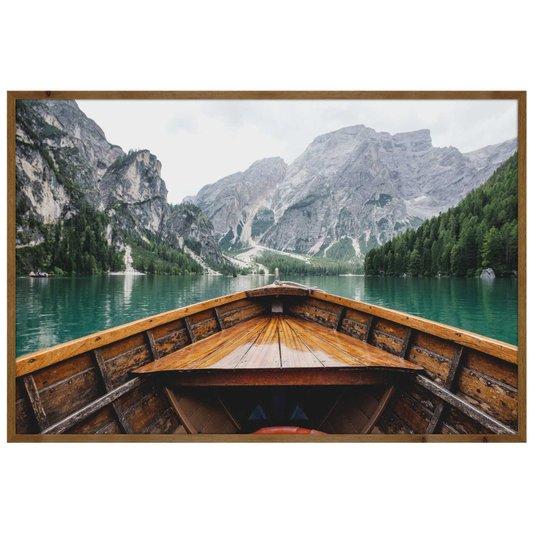 Quadro Paisagem Barco no Lago Braies Localizado na Itália 120x80 cm