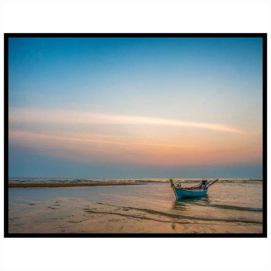 Quadro Paisagem Praia com Barco ao Pôr do Sol 90x70cm