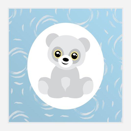 Quadro para Quarto de Bebê Menino Desenho Ursinho 30x30cm