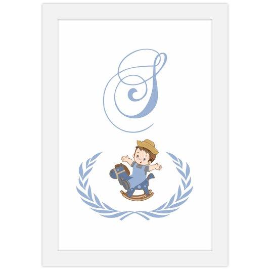 Quadro para Quarto de Bebê Menino Letra Inicial Nome 20x30cm