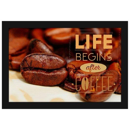 Quadro Pequeno Decorativo A Vida Começa Depois do Café 30x20cm