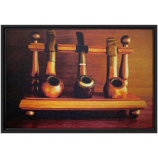 Quadro Pequeno Decorativo Tela Canvas com Moldura Cachimbos 30x20cm