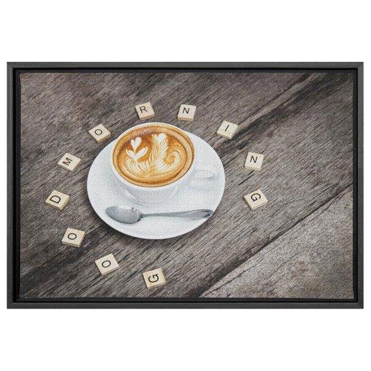 Quadro Pequeno Decorativo Tela Canvas com Moldura Café Bom dia 30x20cm