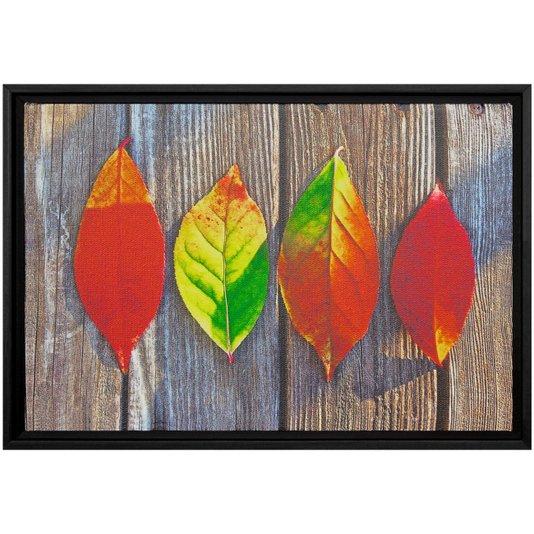 Quadro Pequeno Decorativo Tela Canvas com Moldura Folhas em Fundo Efeito Madeira 30x20cm