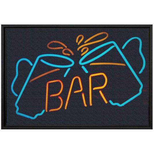 Quadro Pequeno Decorativo Tela Canvas com Moldura Palavra Bar 30x20cm