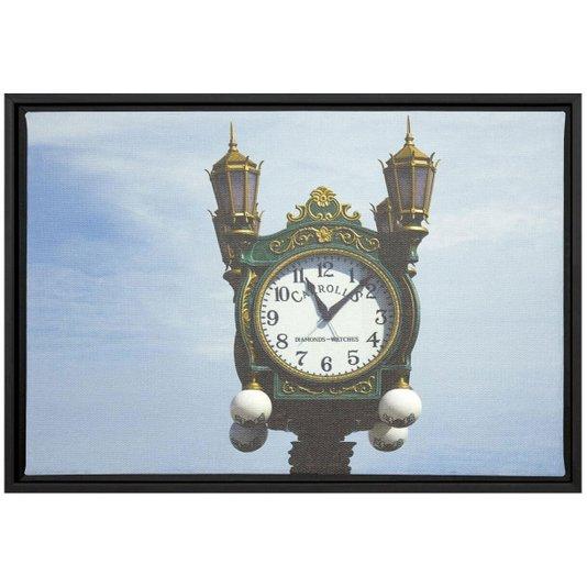 Quadro Pequeno Decorativo Tela Canvas com Moldura Relógio Antigo 30x20cm