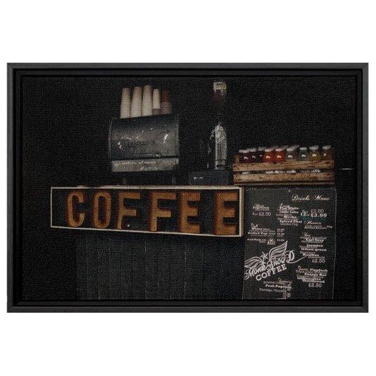 Quadro Pequeno Decorativo Tela Canvas com Moldura Tema Café 30x20cm