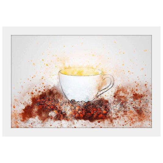 Quadro Pequeno Decorativo Xícara de Café Aquarela 30x20cm Moldura Branca