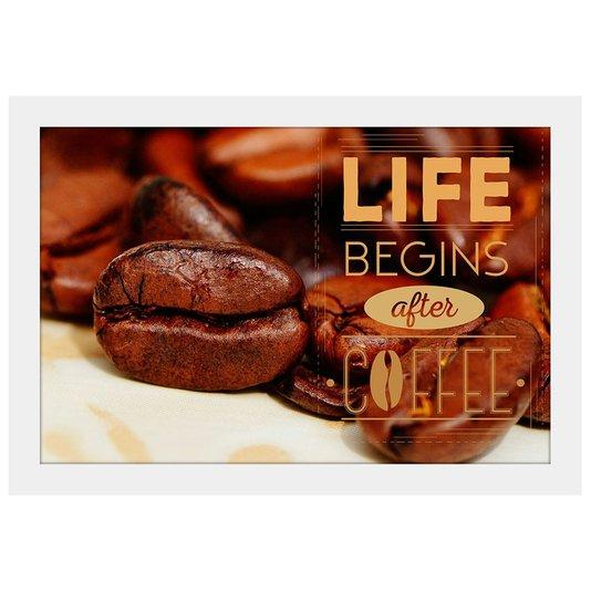 Quadro Pequeno Mold. Branca A Vida Começa Depois do Café 30x20cm