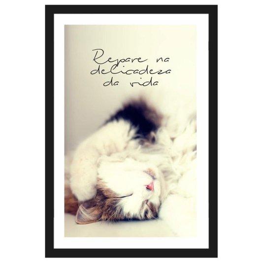 Quadro Pet Decorativo com Moldura Preta Gato e Frase Repare Na Delicadeza da Vida 40x60cm